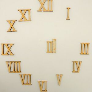 Roman Numbers Wooden 12 pc. for Clock 35 mm Height for Paint and Handicrafts
