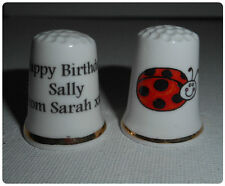 BN Personalised Fine Bone China Ladybird Thimble  with Plastic Display Case