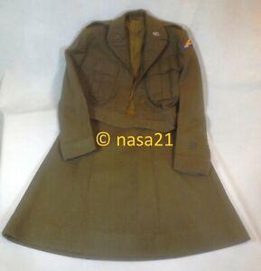 battledress jacket & skirt, OD wool, WWII US Army, WAC nurse
