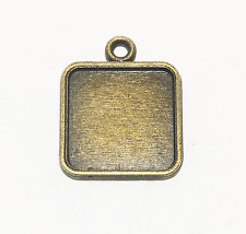 10 Antiqued Bronze Square cabochon Settings 15mm cabochon