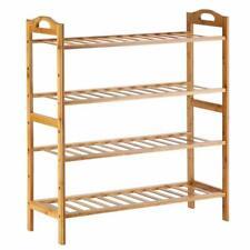 4-Tier Bamboo Standing Storage Shoe Organized Holder Entryway Shoe Shelf