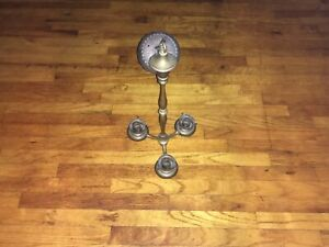 Antique 3 Bulb Pan Art Deco Brass Ceiling Light Fixture