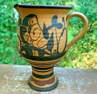 Mexican Clay Pottery Wine Pitcher Hand Spin Mexican Art Hand Pottery Jug