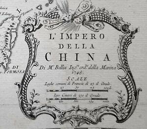 1781 MAP SCARCE THE EMPIRE OF CHINA NICHOLAS BELLIN L'IMPERO DELLA CHINA