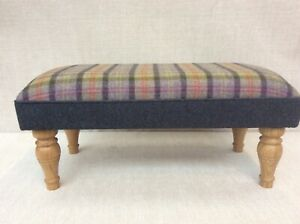 Footstool upholstered in a 100% Wool check Oban Celtic thistle
