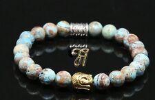 Automne Jaspe Bracelet de Perles Tête Bouddha or 8mm