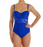 Panache COBALT FLORAL Florentine Bandeau One-Piece Swimsuit, US 32G, UK 32F