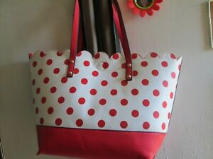 "Large 100% PU Beach Bag Shopper Red & White Poka Dot 16""tapers12""H12""D5""w/11""Dr"
