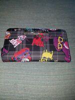 Betsey Johnson Pugs Dog Zip Around Wristlet Wallet Black/Multi MSRP $58