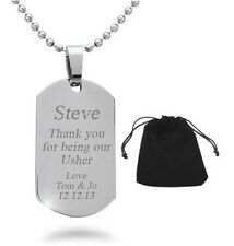 Personalised Engraved Wedding Usher Best Man Page Boy Dog Tag Necklace