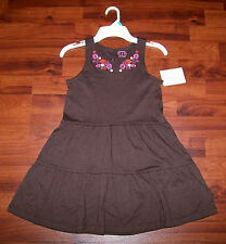 New! Girls CARTER'S Brown & Pink Flower Cotton Tiered Ruffles Smock Dress Size 5