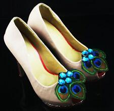 52a1-17 Bridal Wedding resin peacock feather shoe clip 2pieces(1 pair) lhf130801