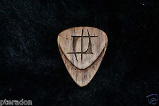 2 Custom Wooden Guitar Picks, Laser Engraved, Nuno Tattoo Logo, Walnut