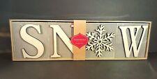Inspirational Blocks Hallmark SNOW Wooden Gray White Winter Holiday Sign