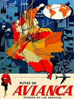 Colombia Colombian South America Avianca Map Travel Advertisement Poster