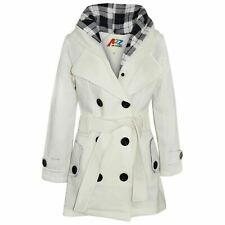 Kids Girls Overcoats Hooded Trench Coats Lapels Cream Padded Long Parka Jackets