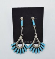 Zuni Handmade Sleeping Beauty Turquoise Cluster Earrings in Sterling Silver