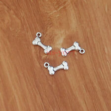 50pcs Dog Bone Charm Dogbone BUlk Metal Charms Antique Silver Tone 15x10mm 0195