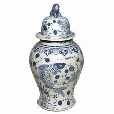 """Blue & White Large Porcelain 8 Gods Motif Temple Jar Ginger Jar 24"""" Foo Dog Top"""
