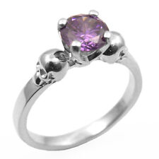 Solid Silver 1ct Amethyst Diamond-Unique Hand Crafted Skull Engagement Ring