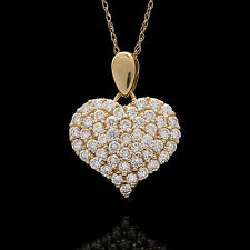 "1.00CT CREATED DIAMOND PAVE HEART PENDANT 14 YELLOW GOLD 18"" ROPE CHAIN NECKLACE"