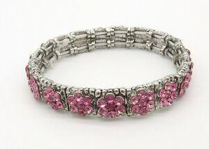 "7"" Silver Tone Pink Crystal Flower Stretch Bracelet~Rhinestone Bangle~11mm Wide"