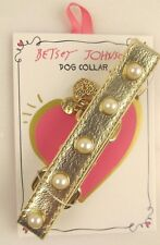 """Betsey Johnson Dog Collar - Gold with Faux Pearl Studs - XS/SM 9 3/4"""" -12"""" - New"""