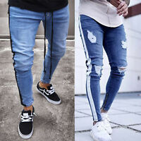 Mens Striped Ripped Skinny Jeans Destroyed Frayed Slim Fit Denim Pants Trousers