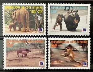 IVORY COAST WILD ANIMALS STAMPS SET 1999 MNH ELEPHANT CHIMPANZEE WILDLIFE MONKEY
