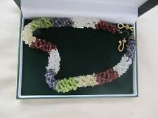 18k gold/blue sapphire/peridot, red garnet,/white crystal, trellis choker/21.5in