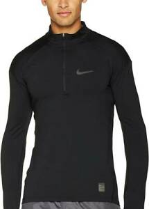 Nike Mens Pro Hyperwarm 1/2 Zip Pullover Fitted L Mock Black Training Jacket Top