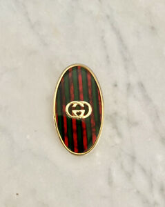 Authentic Vintage GUCCI striped Inlay Gold MONEY CLIP