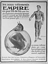 PUBLICITÉ DE PRESSE 1913 LES SOUS-VÊTEMENTS EMPIRE EN PUR FIL DE LIN - H.A.BELL