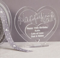 Personalised Acrylic Freestanding Heart for 16th Birthday Gift with Message