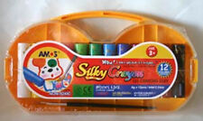 NEW AMOS Silky Crayons Pastel Watercolour 12 Colour Pack - 3 in i