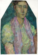 Portrait of woman with purple scarf by Soviet artist Olga Dvoretskaya