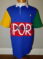 NEW POLO RALPH LAUREN SPORT LOGO COLORBLOCK CLASSIC RUGBY POLO SHIRT MEN'S M
