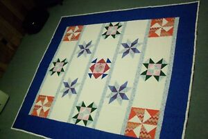 Beautiful Handmade quilt  with red, blue and green  - Full Size