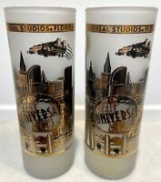"""Set of 2 - Universal Studios Florida Tall Frosted 22K Gold Shot Glasses 4"""" Tall"""