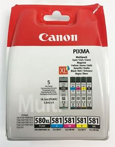 GENUINE Canon PGI-580 XL/CLI-581 Multipack PGBK/C/M/Y/BK Ink Cartridges TR7550