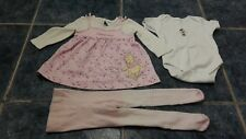 Baby girl 3 pcs set dress, tights & bodysuit size 0-3 mths by George