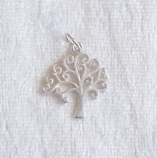 Sterling Silver Swirly Tree of Life Pendant or Large Charm 17mm 925