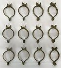 """12 Large Vintage Brass 1 3/4"""" Curtain Rod Rings Clips Clam Shell GOULD Germany"""