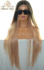 "XXX 40"" LACE FRONT WIG OMBRE BLACK PLATINUM BLONDE ROSE GOLD HUMAN HAIR LONG"