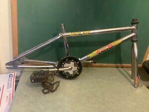 Vtg BMX FRAME FORK SET GT MACH ONE Old School Bmx Crank Pedals