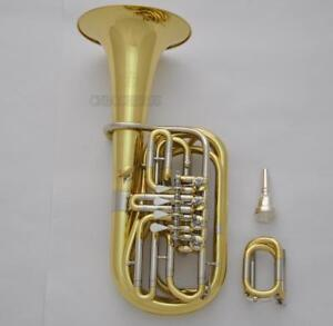 Prof Children F/Eb Tuba 4 Rotary Valve Horn Gold Lacquer 8.66'' Bell With Case