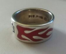 Harley Davidson MOD Sterling Silver Women's RED FLAME B&S Band Ring SZ 6.5