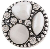 Triple White Stone 18mm Snap Charm For Ginger Snaps Magnolia Vine Jewelry