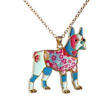 Womens Colorful Enamel Printing Rainbow Bulldog Pendant Necklace Jewellery Gift