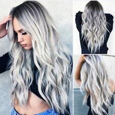 Mode Femme Milieu Longue Bouclés Perruque Ondulée Frisé Cosplay Cheveux SP